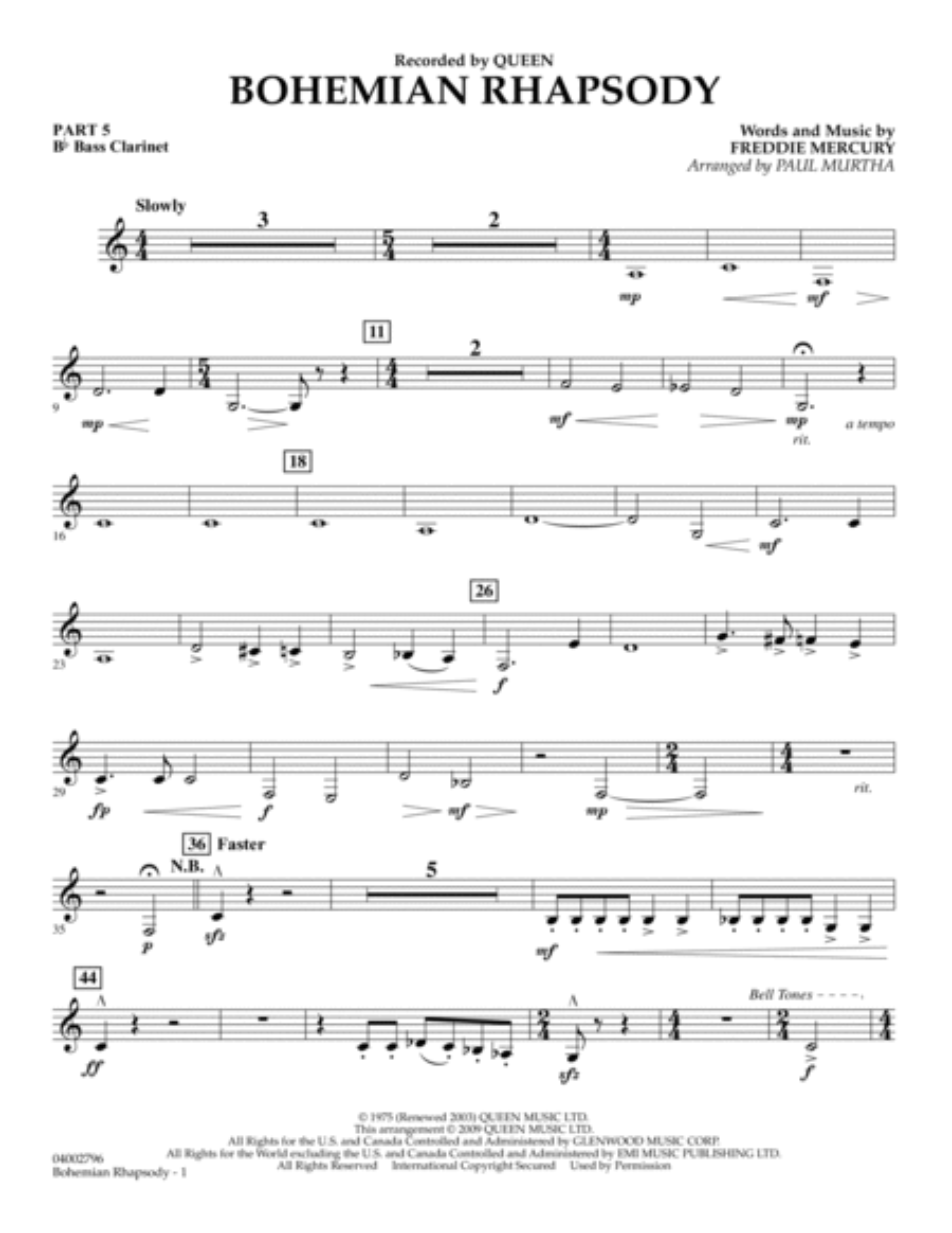Bohemian Rhapsody - Pt.5 - Bb Bass Clarinet