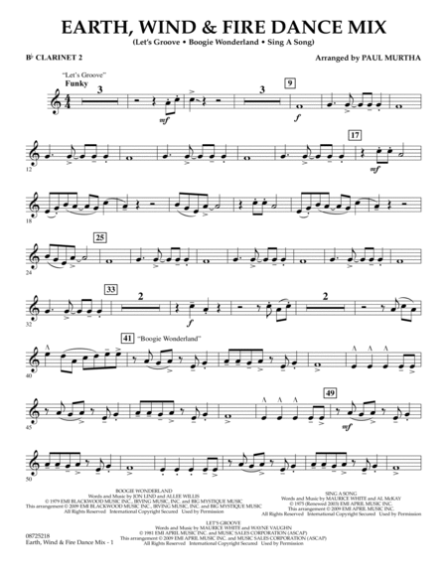Earth, Wind & Fire Dance Mix - Bb Clarinet 2