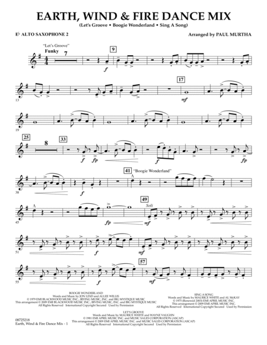 Earth, Wind & Fire Dance Mix - Eb Alto Saxophone 2