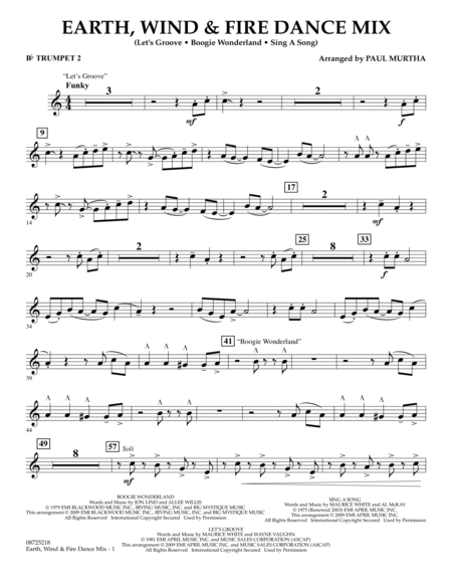 Earth, Wind & Fire Dance Mix - Bb Trumpet 2