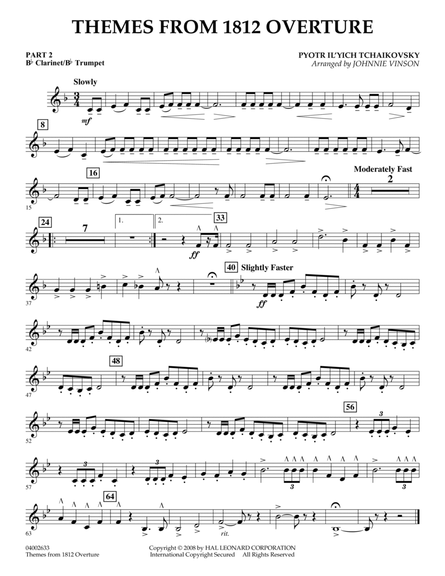 Themes from 1812 Overture - Pt.2 - Bb Clarinet/Bb Trumpet