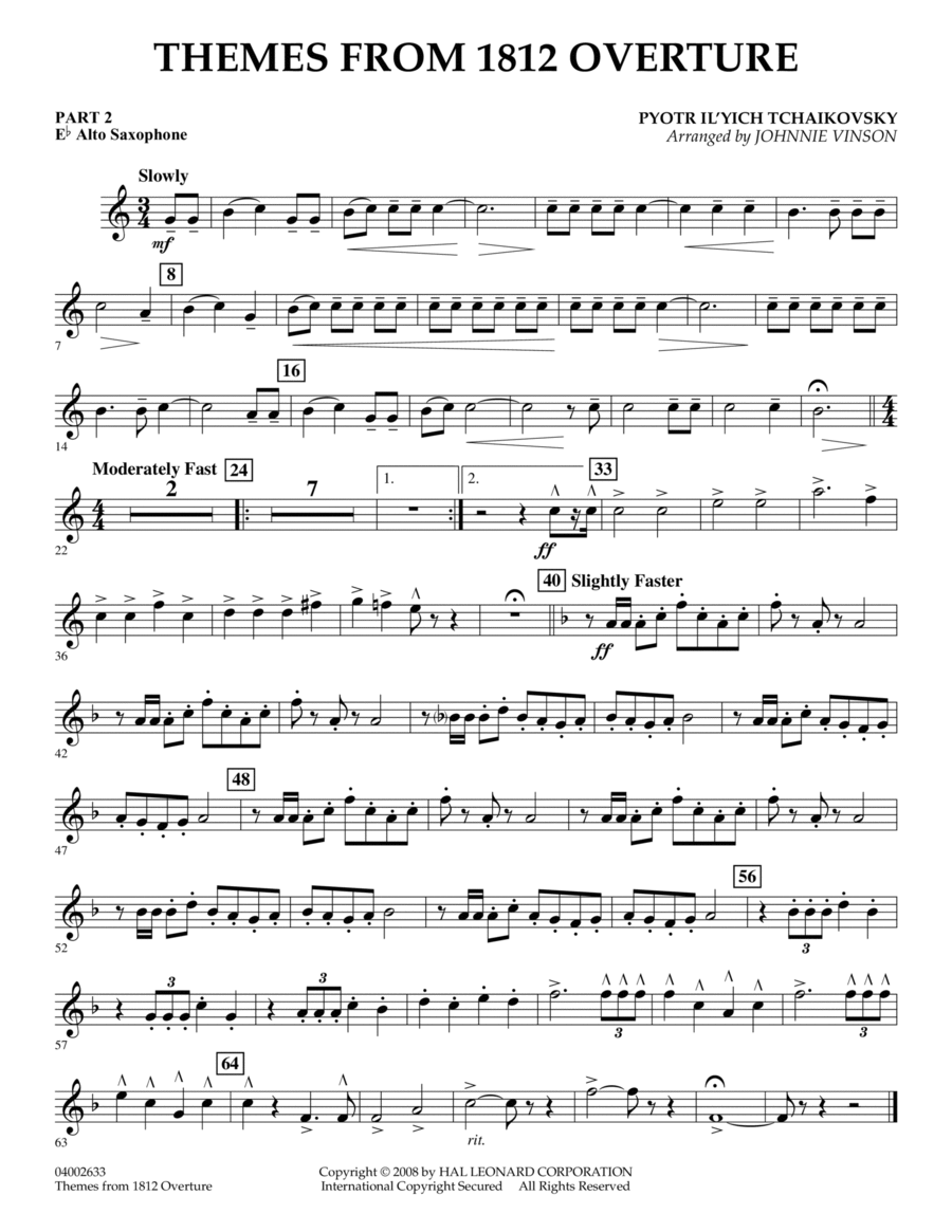 Themes from 1812 Overture - Pt.2 - Eb Alto Saxophone