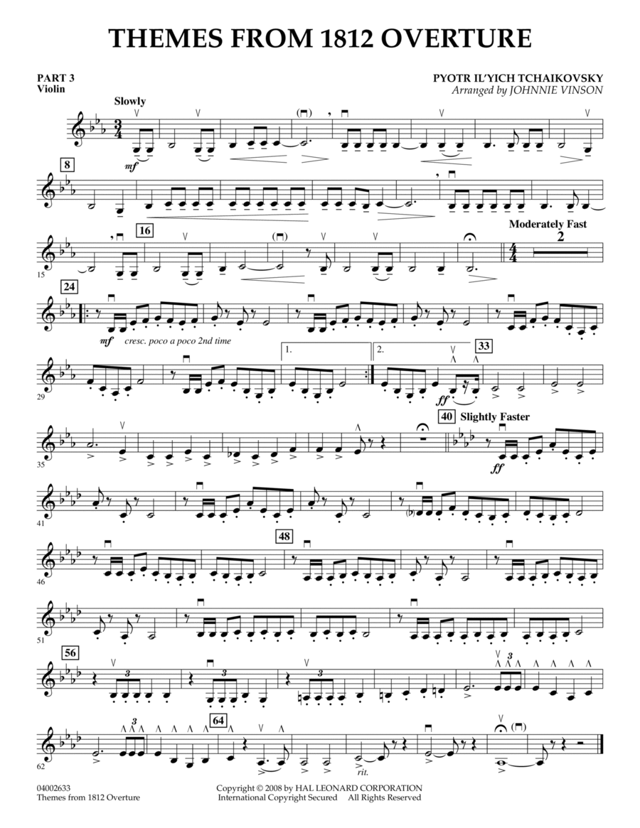 Themes from 1812 Overture - Pt.3 - Violin