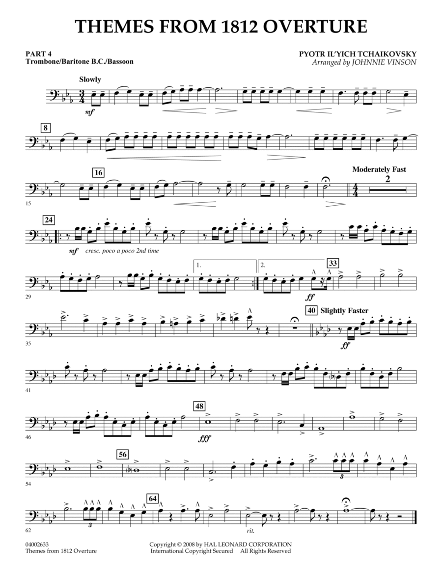 Themes from 1812 Overture - Pt.4 - Trombone/Bar. B.C./Bsn.