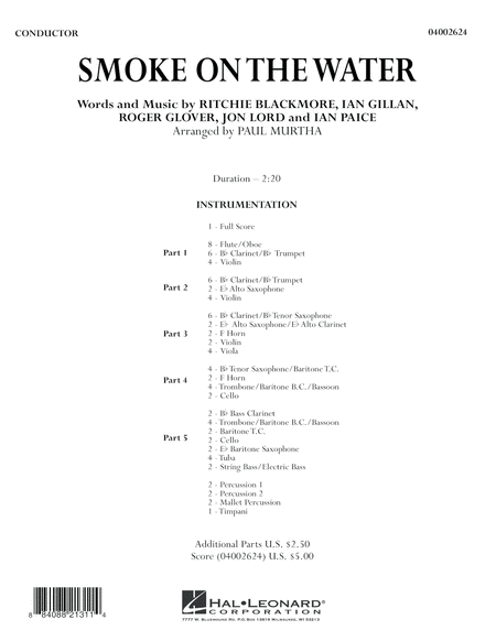 Smoke on the Water - Conductor Score (Full Score)