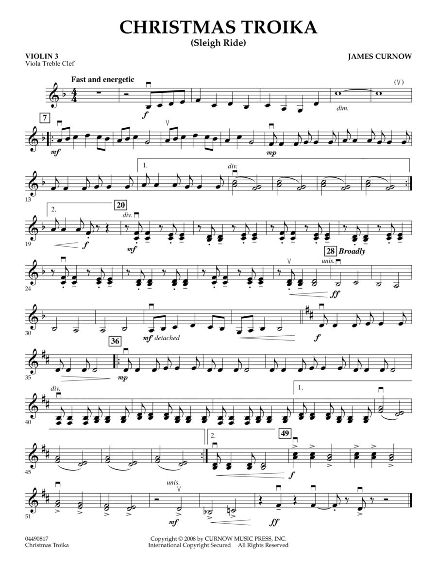Christmas Troika - Violin 3 (Viola Treble Clef)