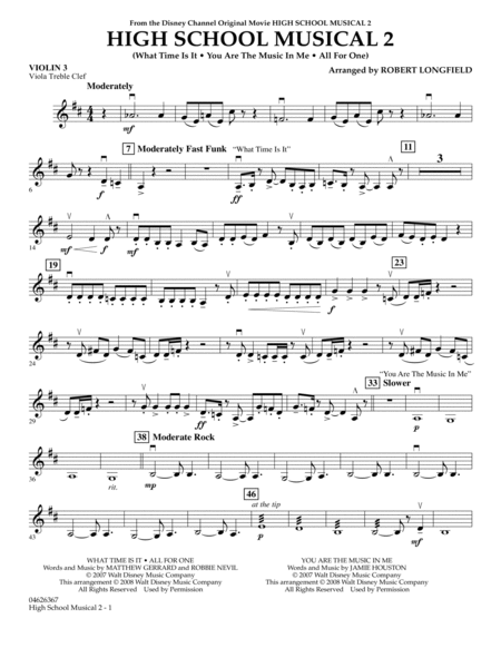 High School Musical 2 - Violin 3 (Viola Treble Clef)