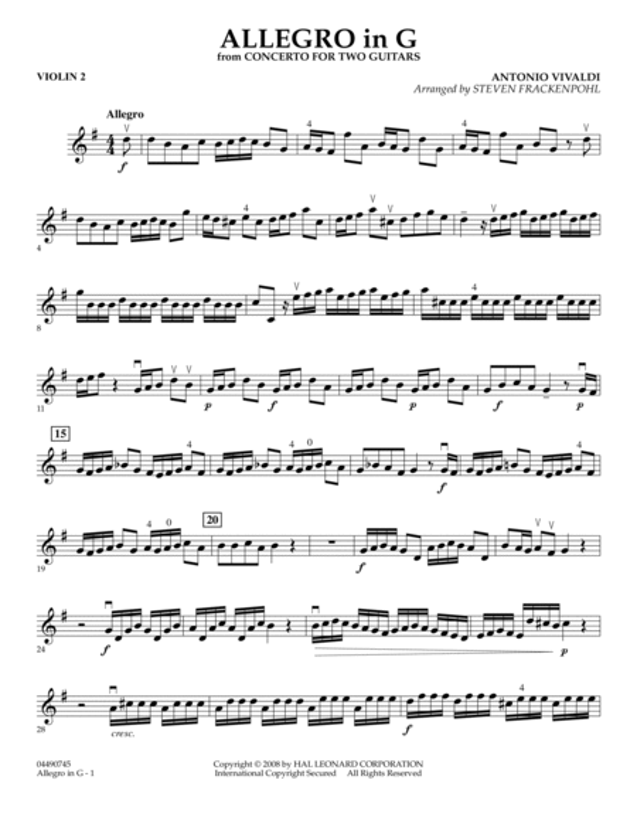 Allegro in G - Violin 2