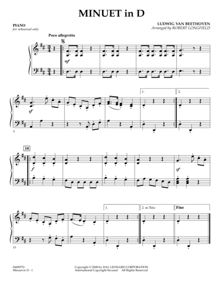 Minuet in D - Piano