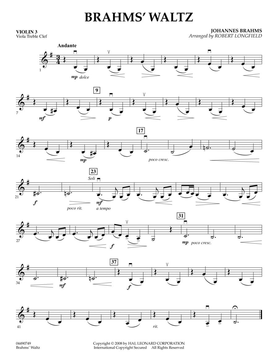 Brahms' Waltz - Violin 3 (Viola Treble Clef)