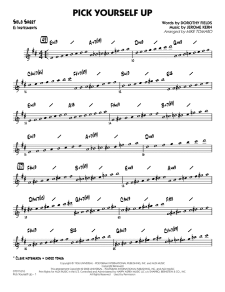 Pick Yourself Up - Eb Solo Sheet