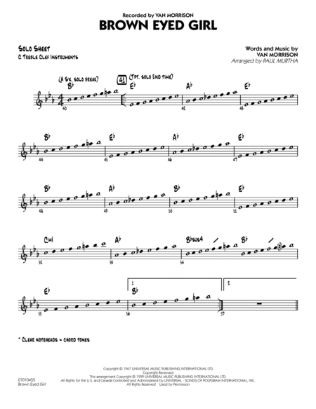 Brown Eyed Girl - C Solo Sheet
