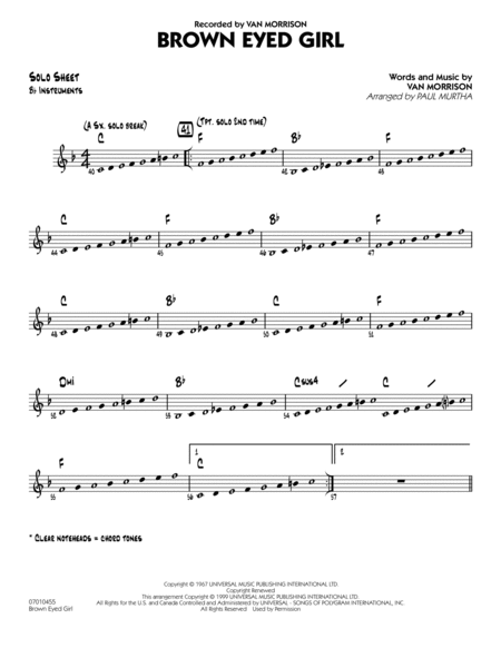 Brown Eyed Girl - Bb Solo Sheet