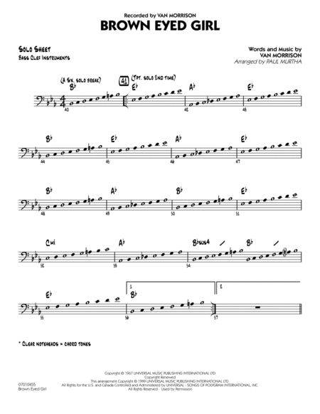 Brown Eyed Girl - C Bass Clef Solo