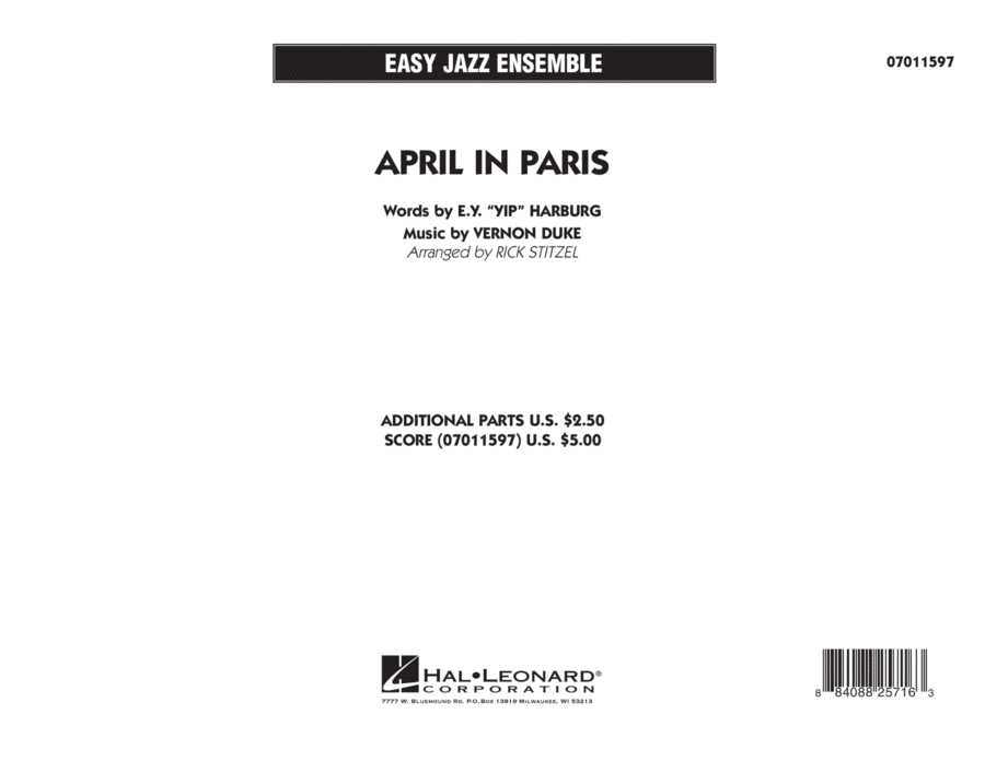 April in Paris - Full Score