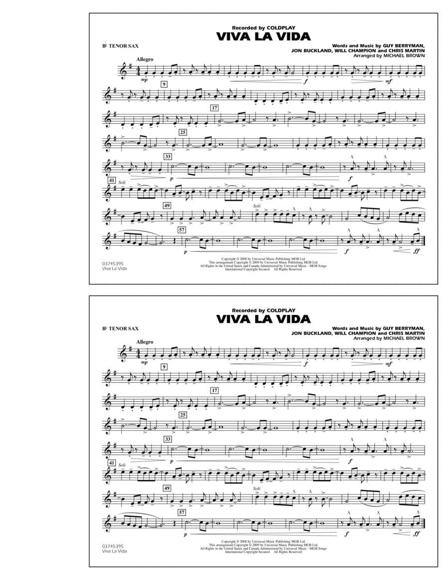 Viva La Vida - Bb Tenor Sax