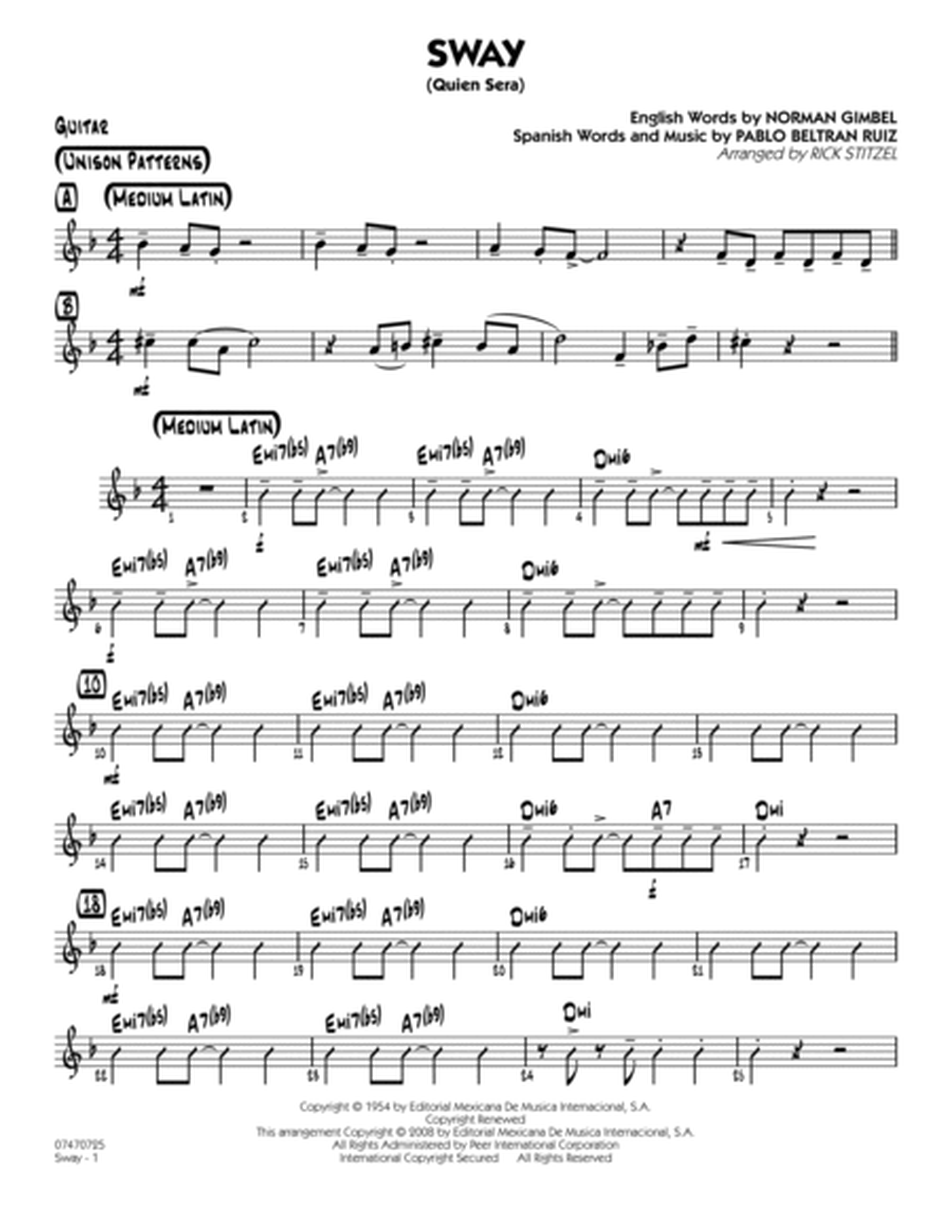 Sway (Quien Sera) - Guitar
