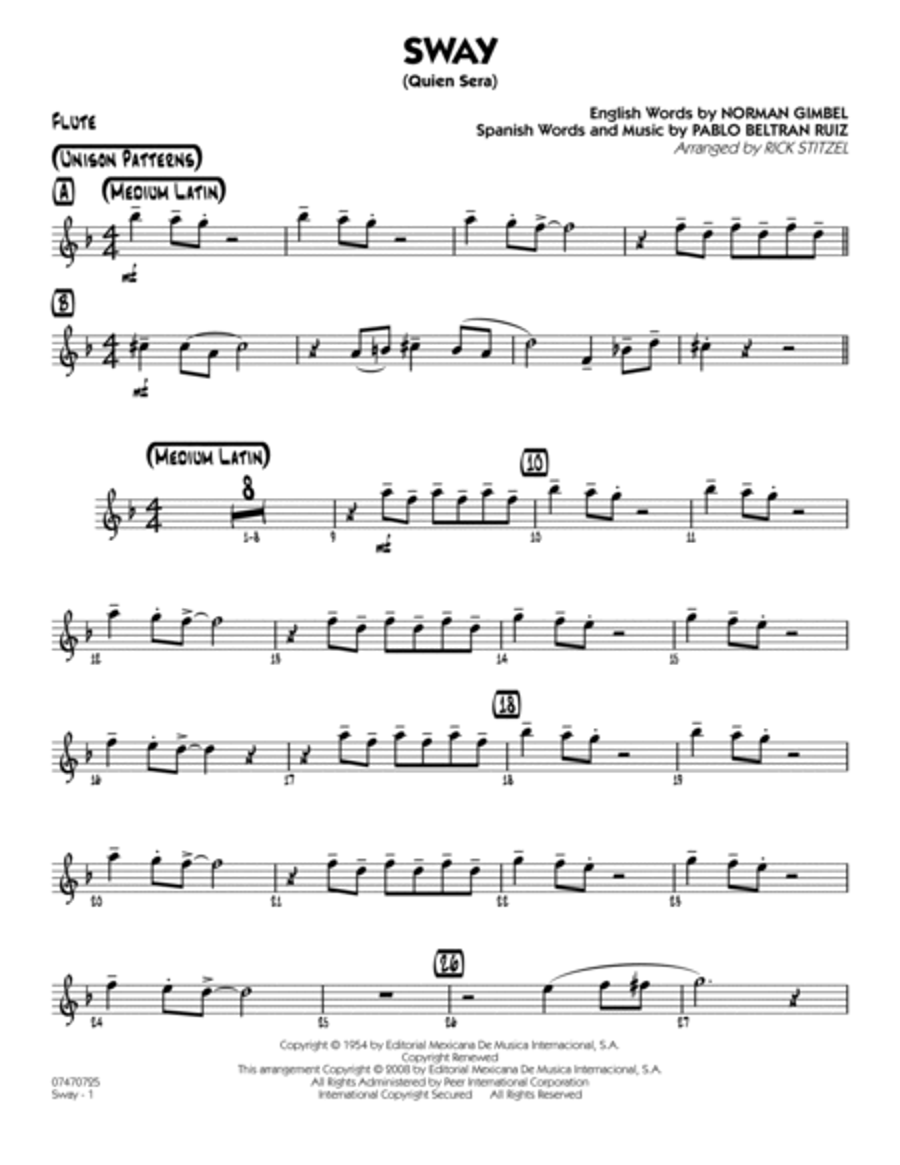 Sway (Quien Sera) - Bb Clarinet 1