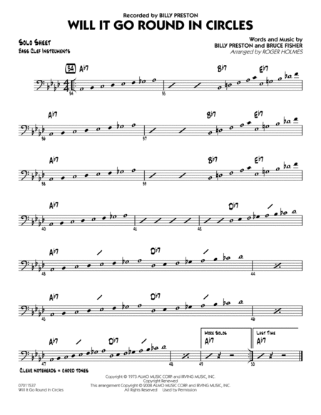Will It Go Round in Circles? - Bass Clef Solo Sheet