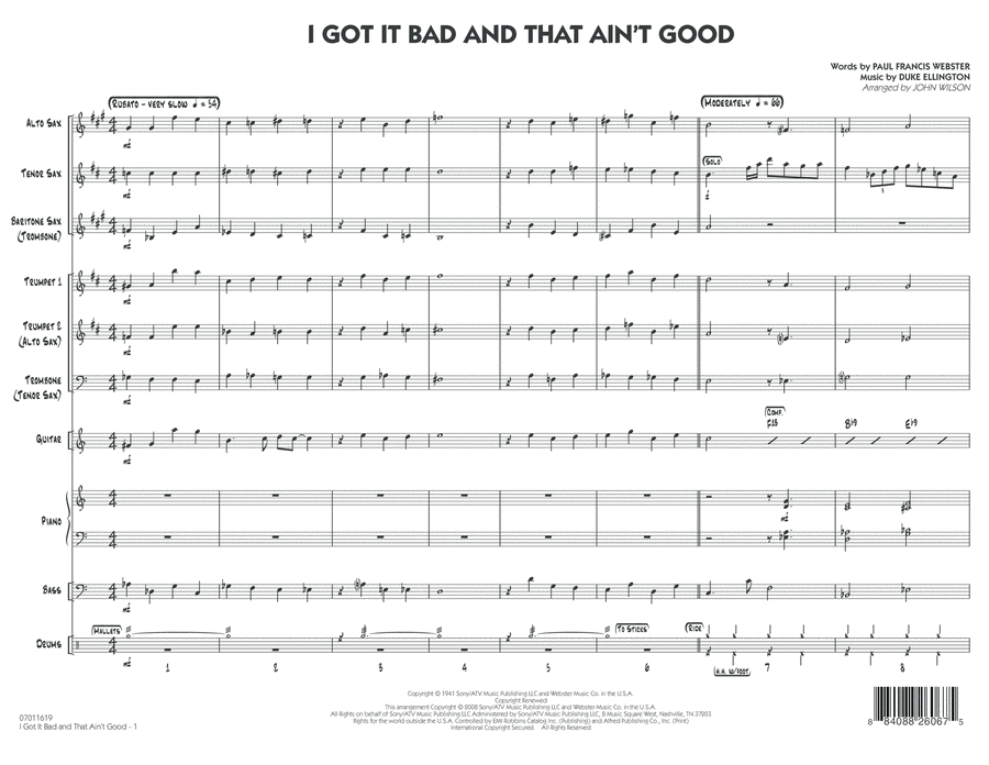 I Got It Bad and That Ain't Good - Full Score