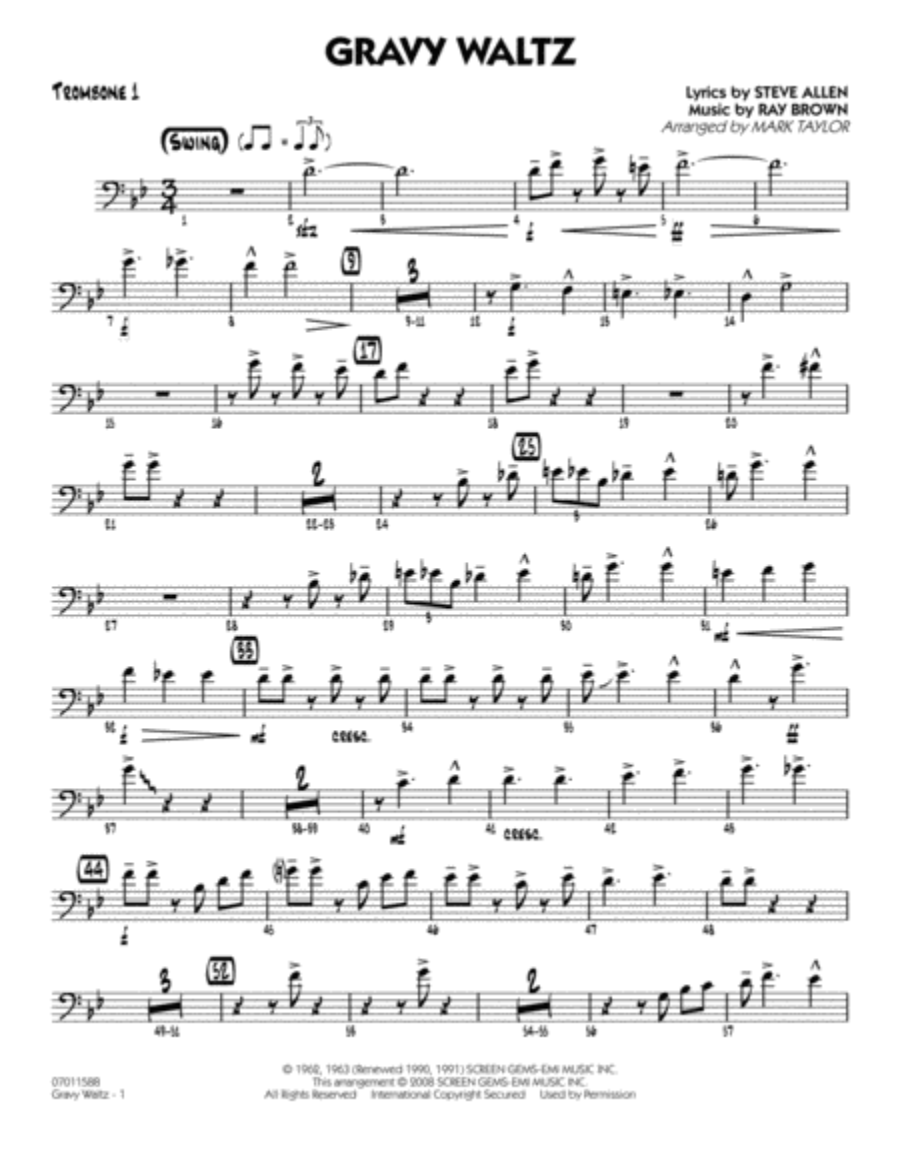 Gravy Waltz - Trombone 1