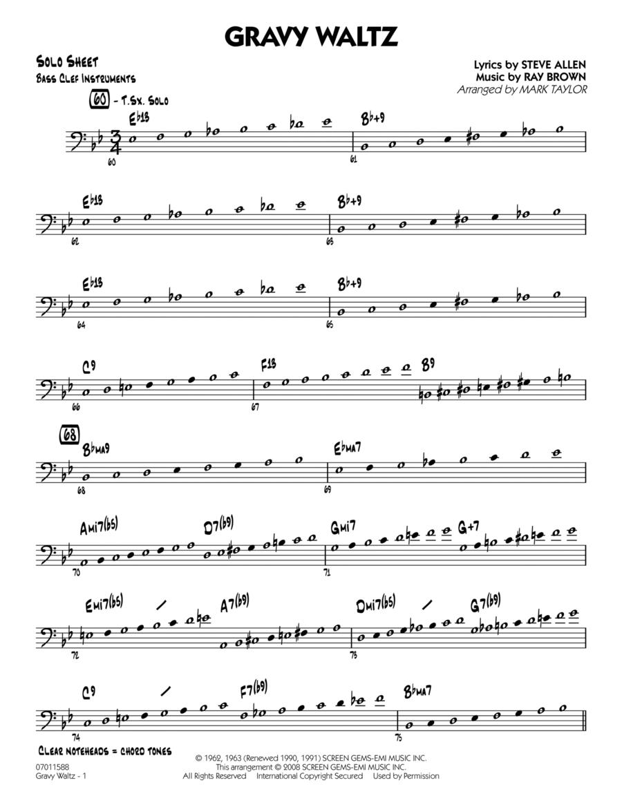 Gravy Waltz - Bass Clef Solo Sheet