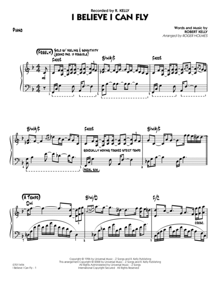 I Believe I Can Fly - Piano