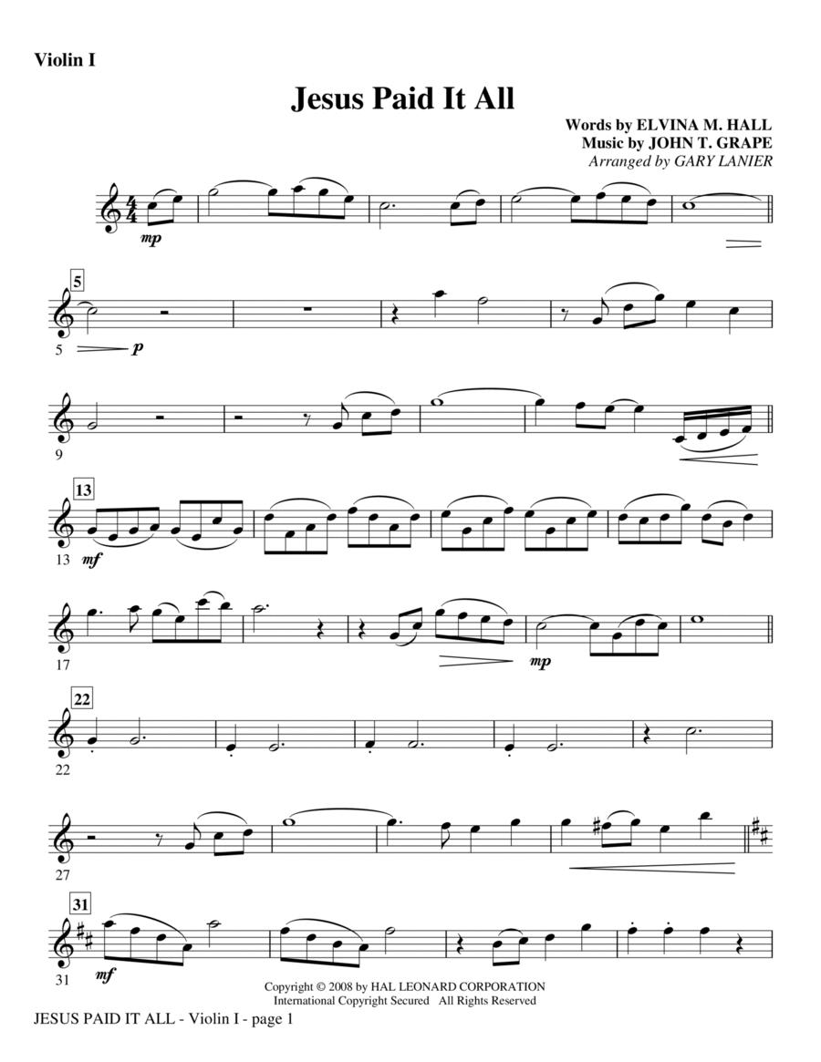 Jesus Paid It All - Violin 1