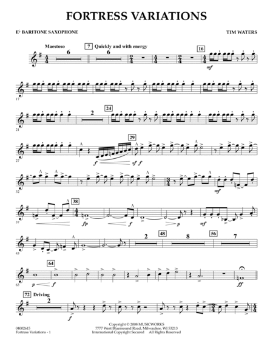 Fortress Variations - Eb Baritone Saxophone