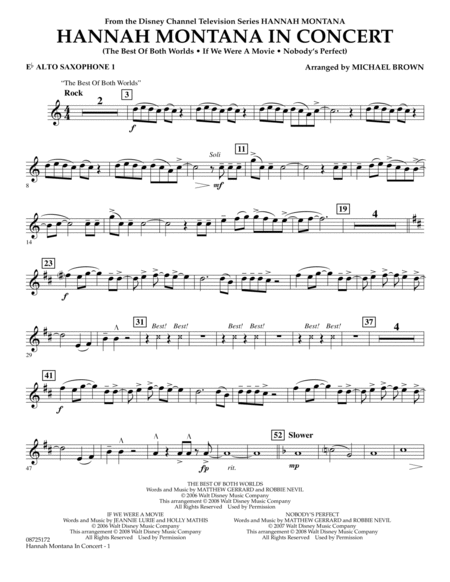 Hannah Montana in Concert - Eb Alto Saxophone 1