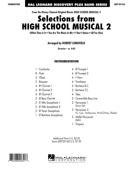 Selections from High School Musical 2 - Full Score