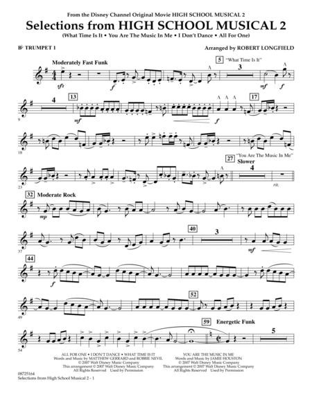 Selections from High School Musical 2 - Bb Trumpet 1