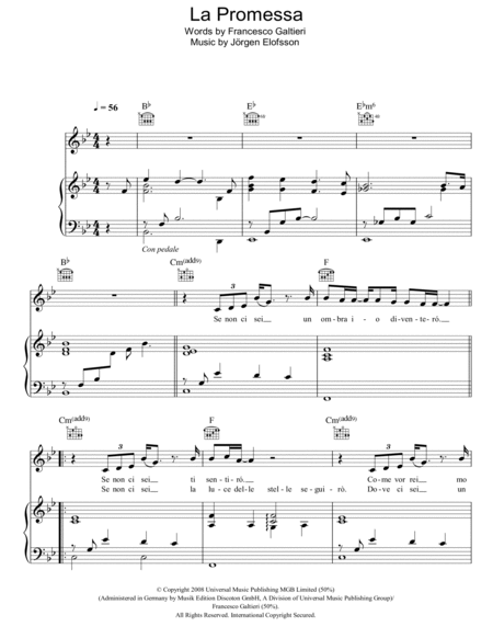 Download la promessa sheet music by il divo sheet music plus - Il divo la promessa ...