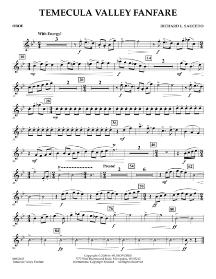 Temecula Valley Fanfare - Oboe