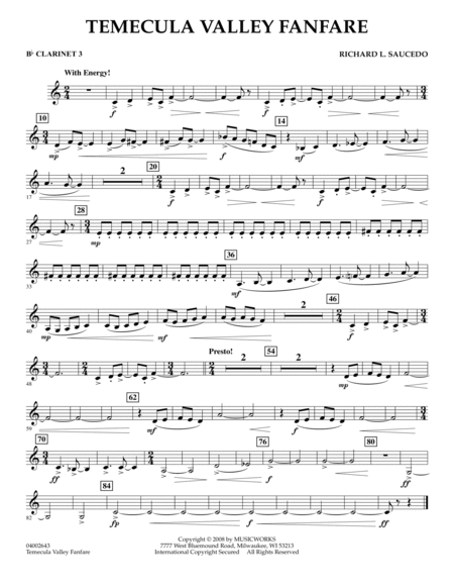 Temecula Valley Fanfare - Bb Clarinet 3
