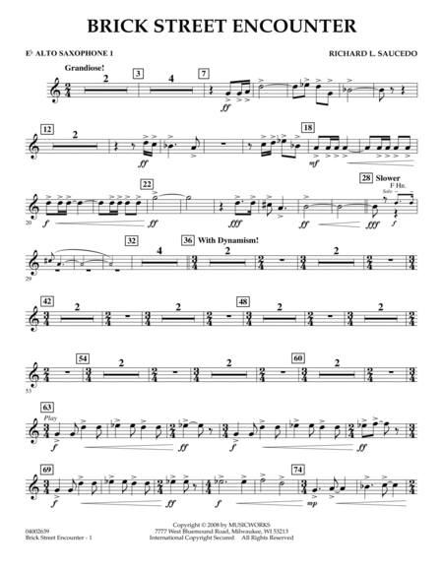 Brick Street Encounter - Eb Alto Saxophone 1