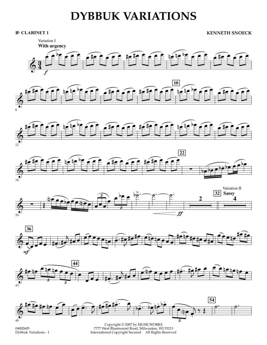 Dybbuk Variations - Bb Clarinet 1