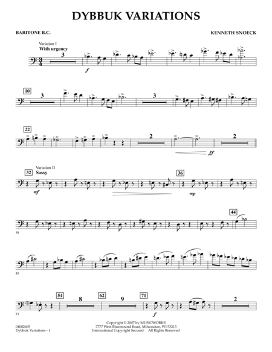 Dybbuk Variations - Baritone B.C.