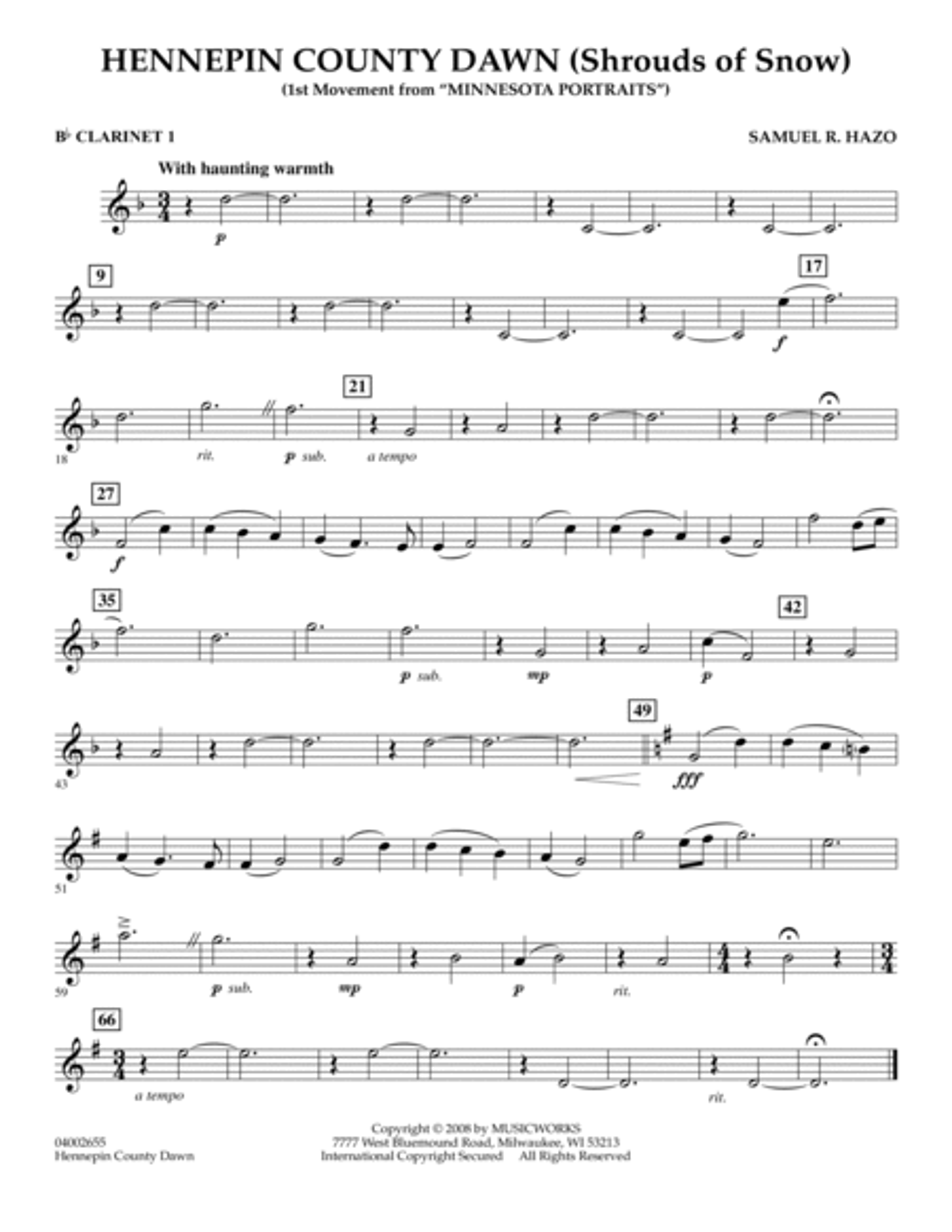 Hennepin County Dawn (Mvt. 1 of Minnesota Portraits) - Bb Clarinet 1