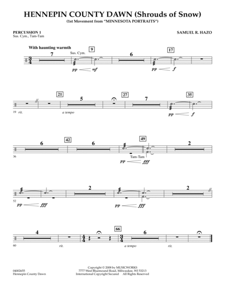 Hennepin County Dawn (Mvt. 1 of Minnesota Portraits) - Percussion 1