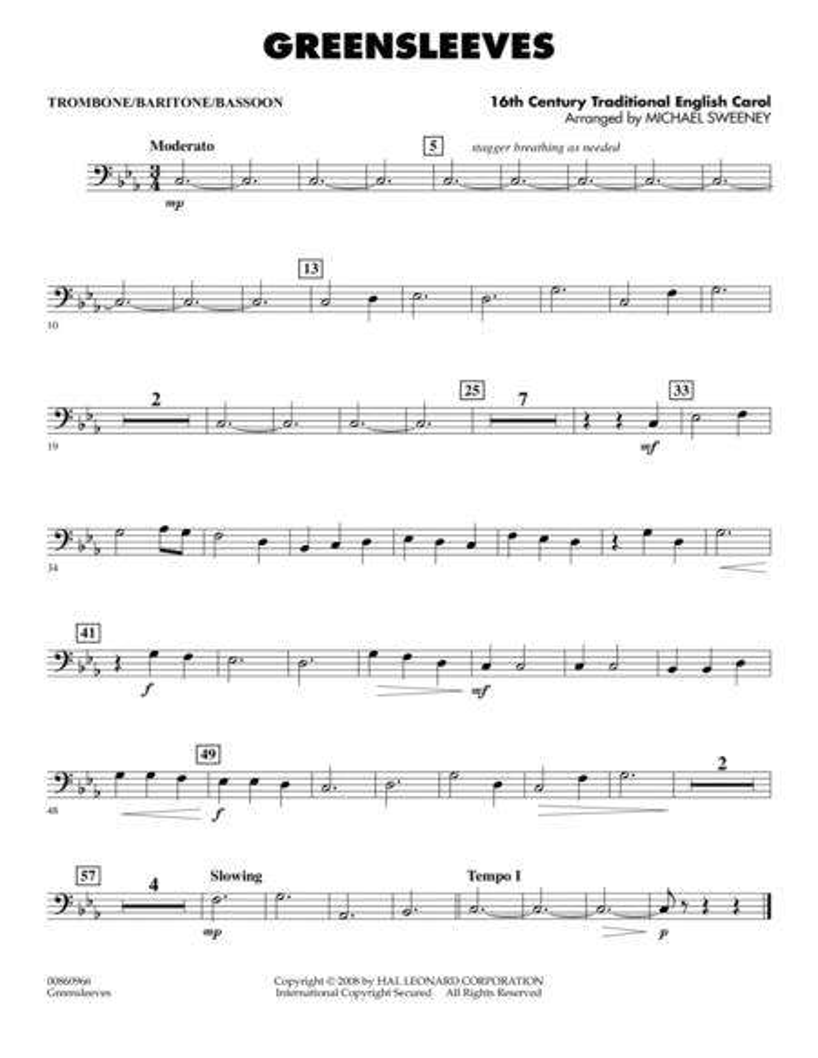 Greensleeves - Trombone/Baritone B.C./Bassoon