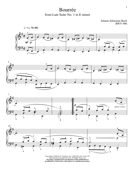 Bouree, BWV 996