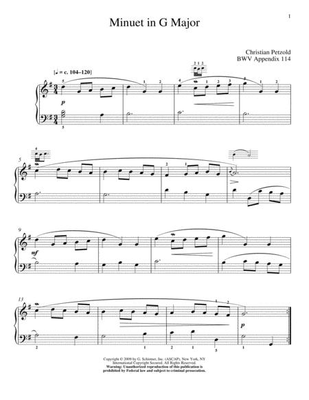 Menuet In G Major, BWV App. 114