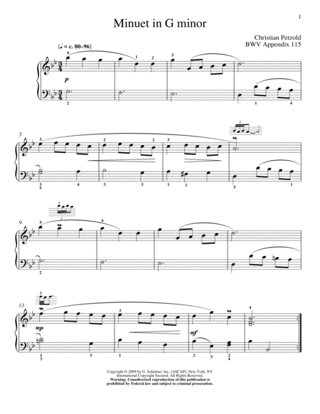 Menuet In G Minor, BWV App. 115