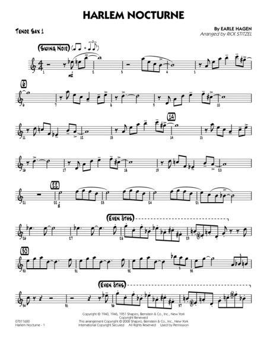 Harlem Nocturne - Tenor Sax 1