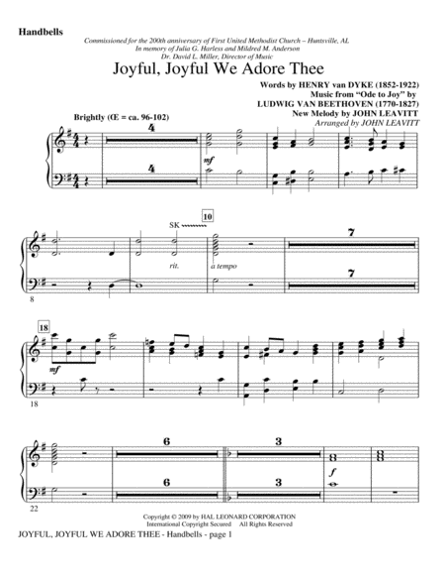 Joyful, Joyful, We Adore Thee - Handbells