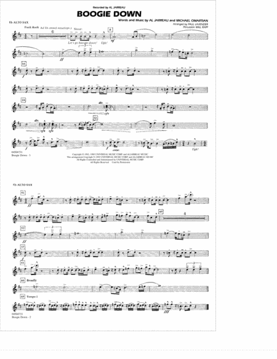 Boogie Down - Eb Alto Sax