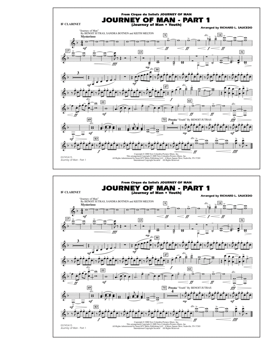 Journey of Man - Part 1 (Journey of Man: Youth) - Bb Clarinet