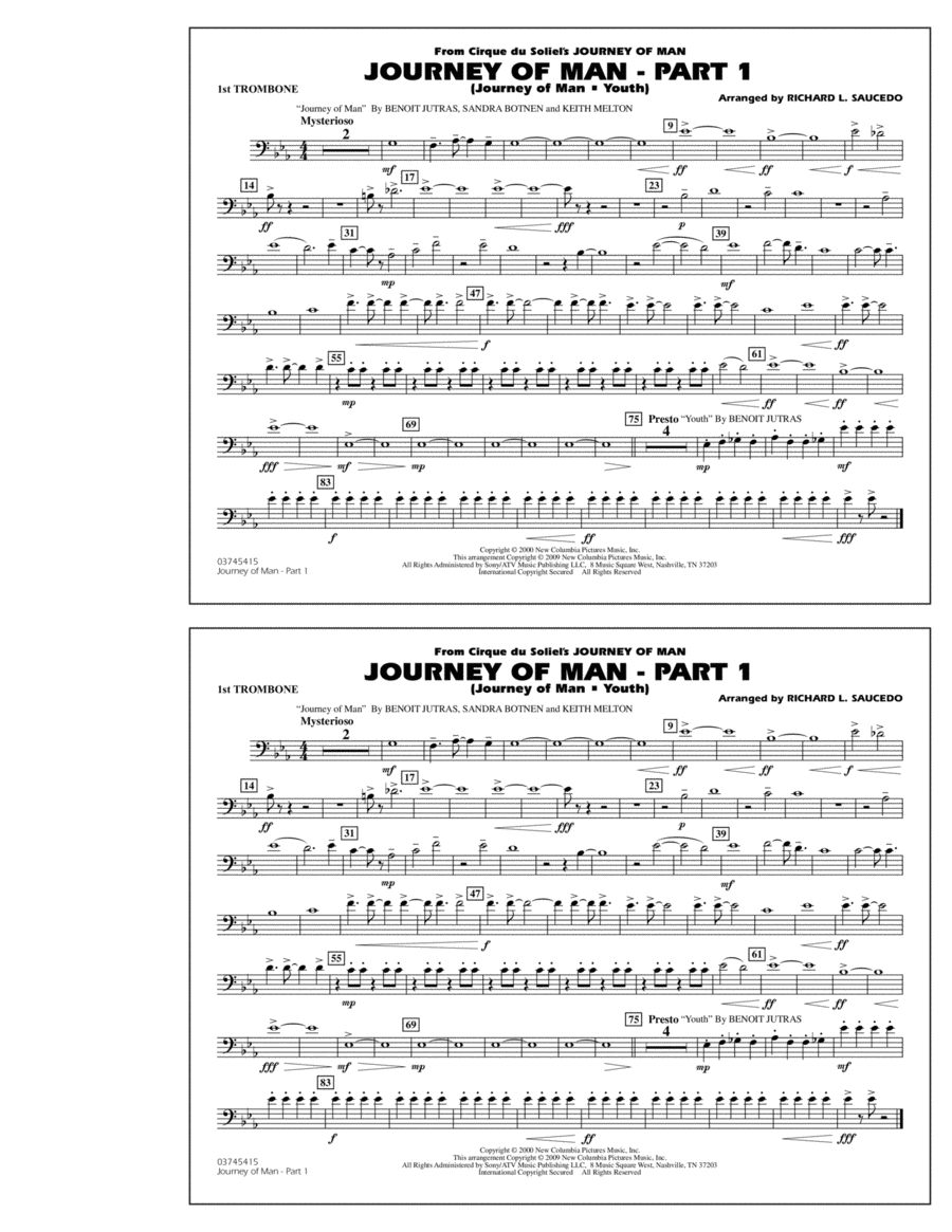 Journey of Man - Part 1 (Journey of Man: Youth) - 1st Trombone