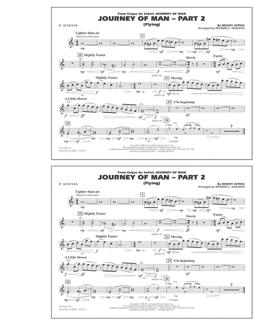 Journey of Man - Part 2 (Flying) - Eb Alto Sax